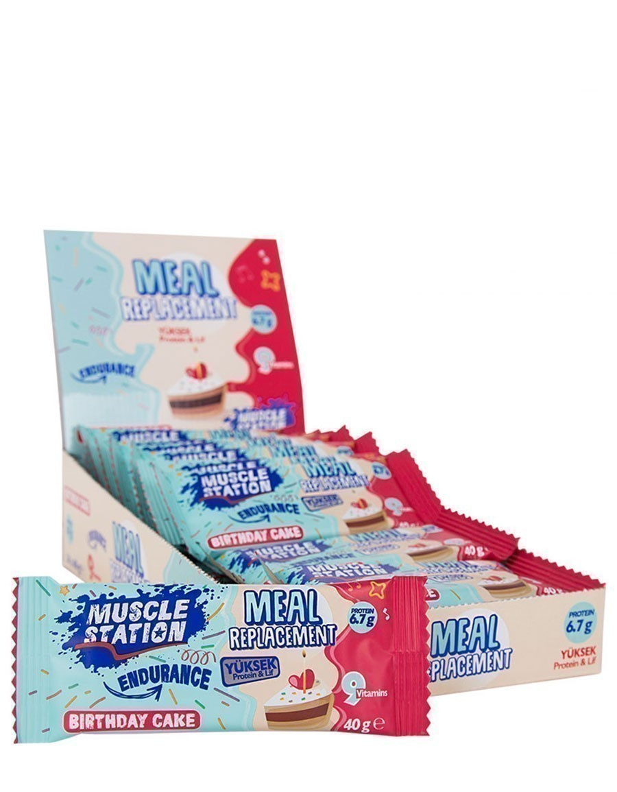 Musclestation Meal Replacement Birthday Cake Protein Bar 40gr - 24 Adet