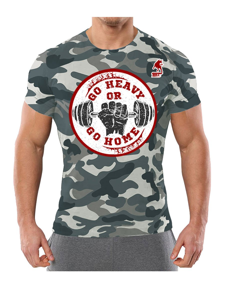 Raging Bull Go Heavy Or Go Home Kamuflaj T-Shirt (Dijital Baskı)