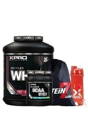 Xpro Whey Complex Protein Tozu 2280gr + Xpro Bcaa 8100 Powder 429gr + Blender Shaker + Çanta